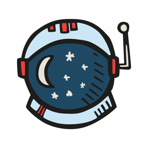 Astronaut, Helmet Icon Free Of Space Hand Drawn Color Sticker