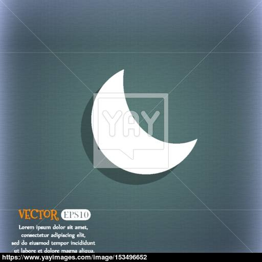 Moon Icon On The Blue Green Abstract Background With Shadow