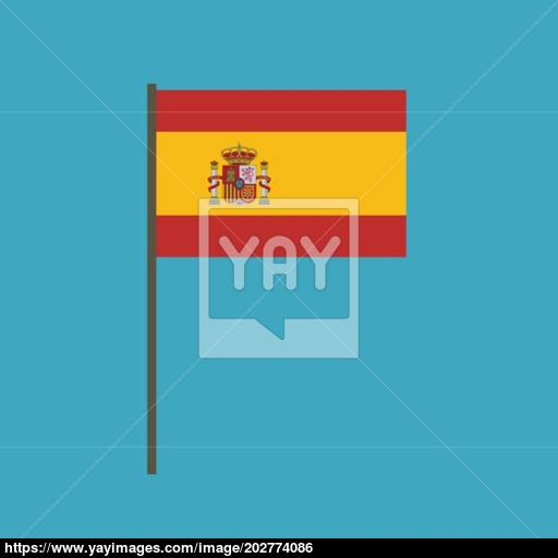 Spain Flag Icon In Flat Design Vector