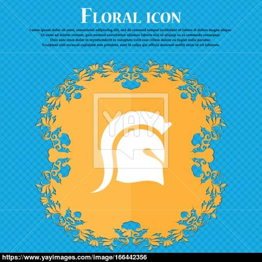 Spartan Helmet Icon Icon Floral Flat Design On A Blue Abstract