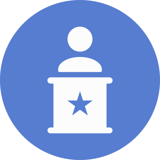 Election Speaker Icon Circle Blue Election Iconset Icon Archive