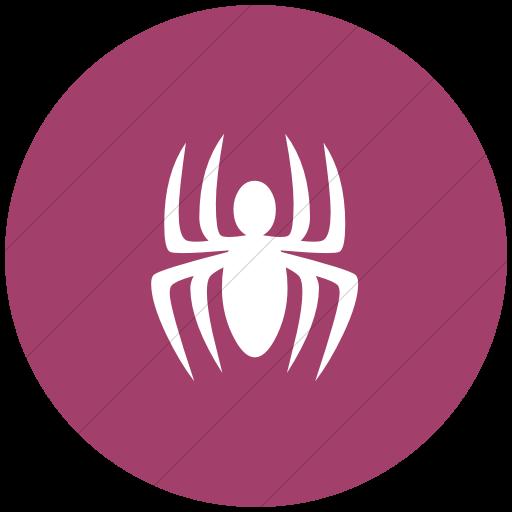 Flat Circle White On Pink Animals Spider Icon