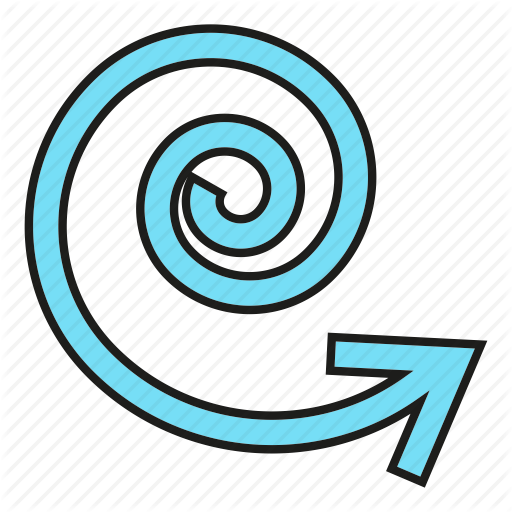 Arrow, Cursor, Direction, Sign, Spiral, Swirl Icon