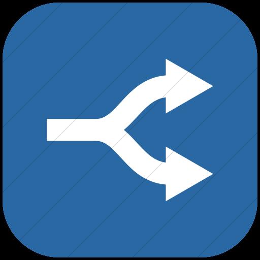 Flat Rounded Square White On Blue Raphael Arrow Split Icon