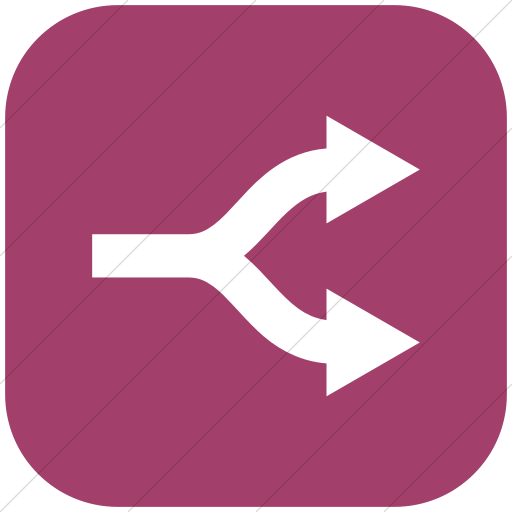 Flat Rounded Square White On Pink Raphael Arrow Split Icon