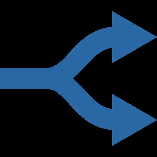 Simple Blue Raphael Arrow Split Icon