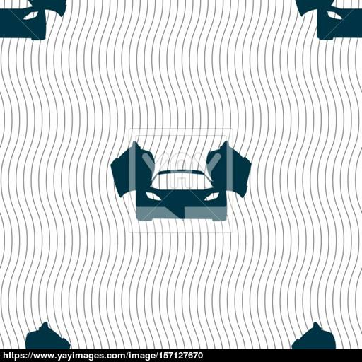 Sports Car Icon Sign Seamless Pattern With Geometric Texture