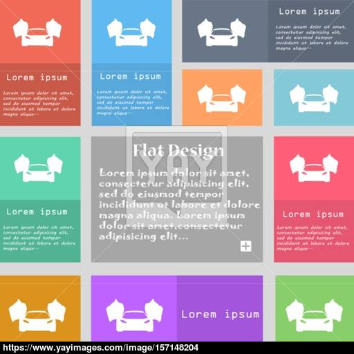 Sports Car Icon Sign Set Of Multicolored Buttons With Space