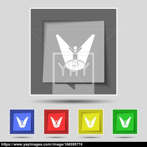 Spotlight Icon Sign On Original Five Colored Buttons Vector