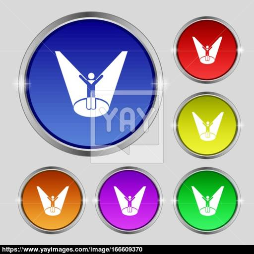Spotlight Icon Sign Round Symbol On Bright Colourful Buttons