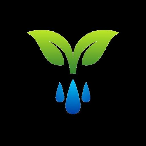 Cropped Water Drops Logo Dew Plant Symbol Spring Icon Season