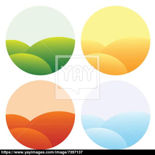 Four Seasons Icons Vector