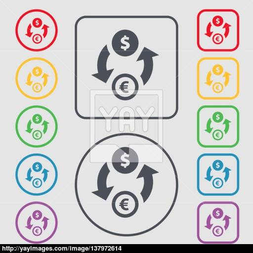 Currency Exchange Icon Sign Symbol On The Round And Square