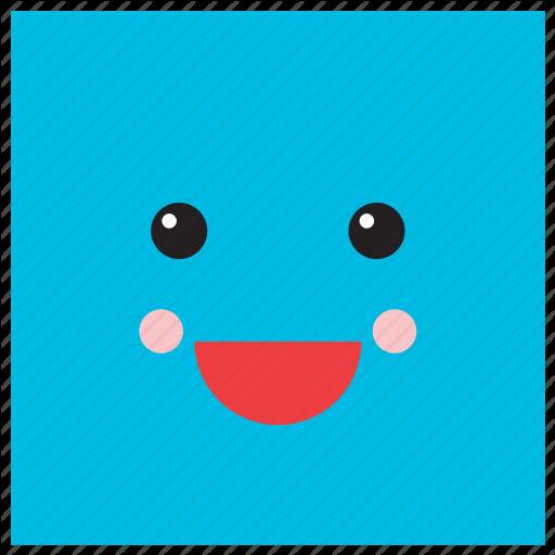 Emoji, Emoticon, Face, Geometric, Shape, Smiley, Square Icon