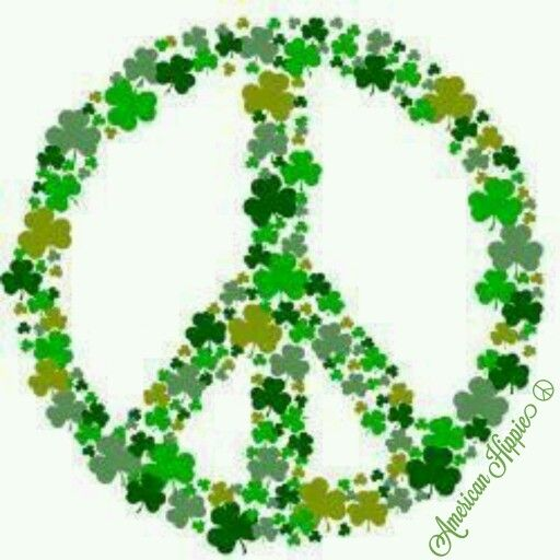 American Hippie Art Peace Sign St Patrick's Day My