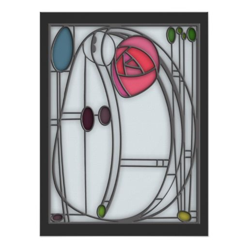 Wedding Invitation Art Nouveau Roses Stained Glass Formal