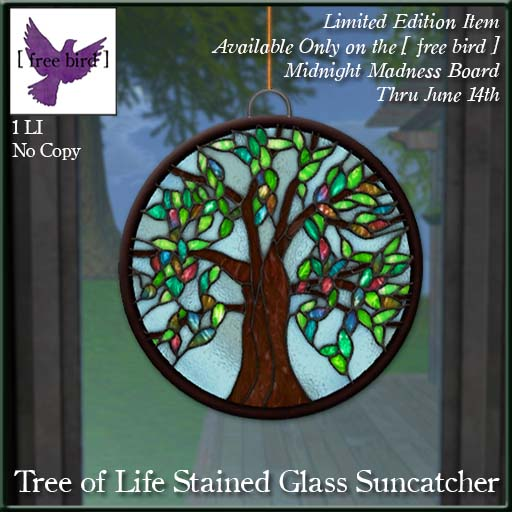 Free Bird Limited Edition Tree Of Life Stained Glass Suncatcher