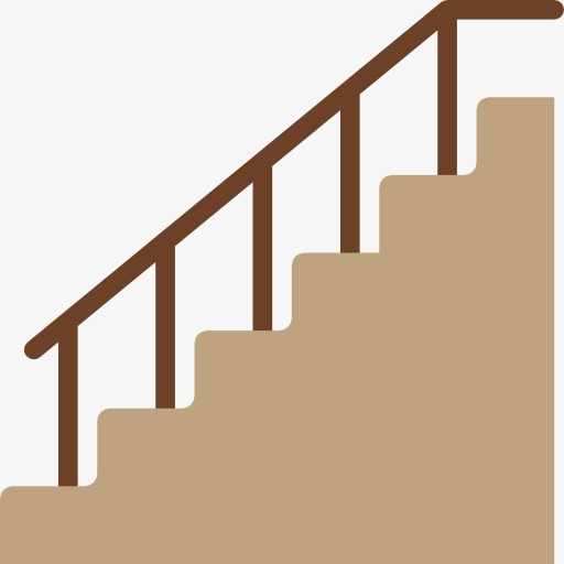 A Gray Staircase, Stairs, Armrest, Cartoon Png Image And Clipart