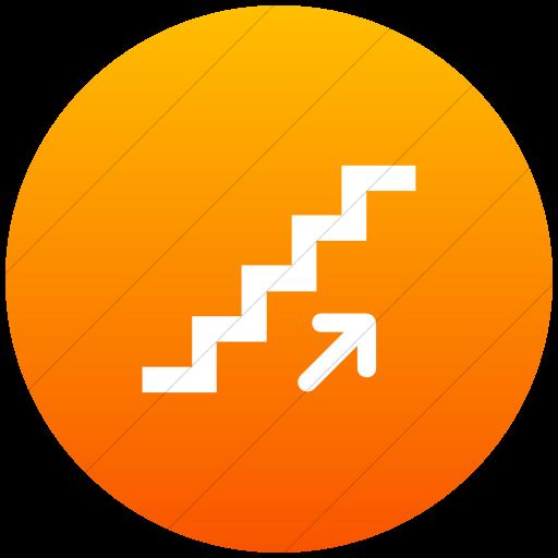 Flat Circle White On Orange Gradient Aiga Stairs Up Icon