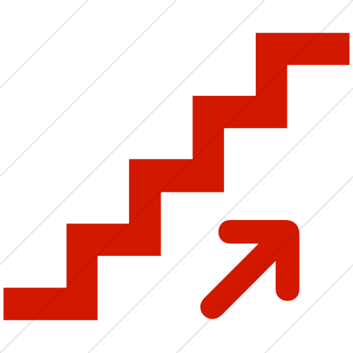 Simple Red Aiga Stairs Up Icon