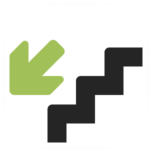 Stairs Down Icon Iconexperience