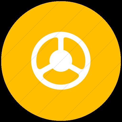 Flat Circle White On Yellow Classica Steering Wheel Icon