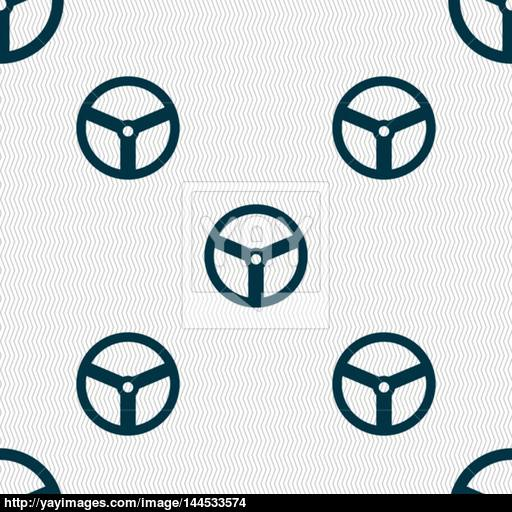 Steering Wheel Icon Sign Seamless Abstract Background