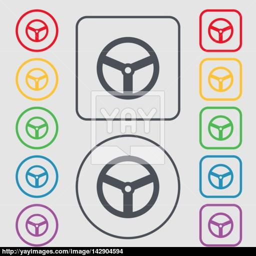 Steering Wheel Icon Sign Symbols On The Round And Square Buttons