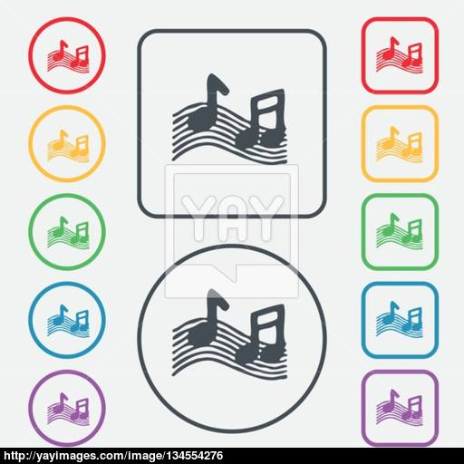 Musical Note, Music, Ringtone Icon Sign Symbol On The Round