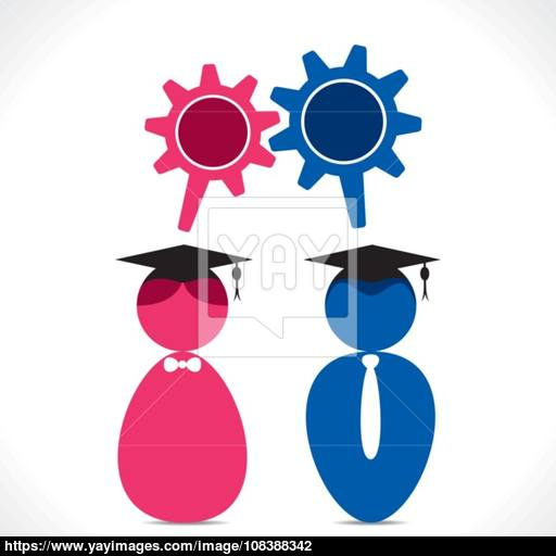 Graduate Student Icon With Gear Shape Message Bubble Vector Vector