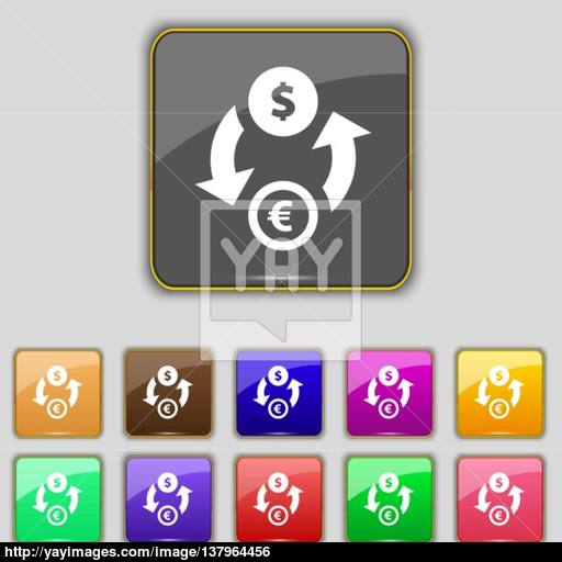 Currency Exchange Icon Sign Set With Eleven Colored Buttons
