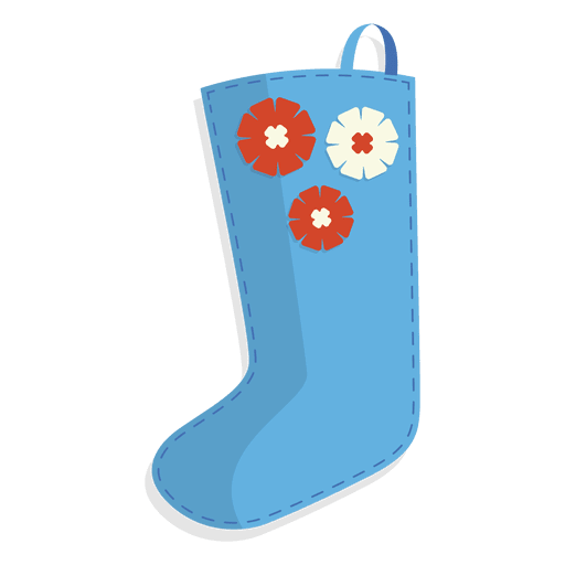 Blue Flowers Christmas Stocking Icon