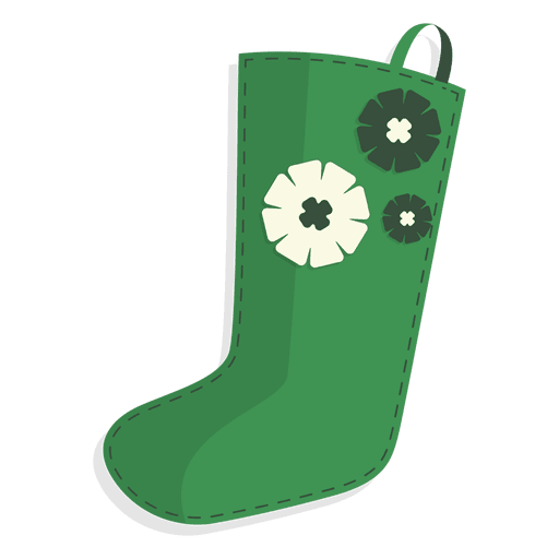 Green Flowers Christmas Stocking Icon