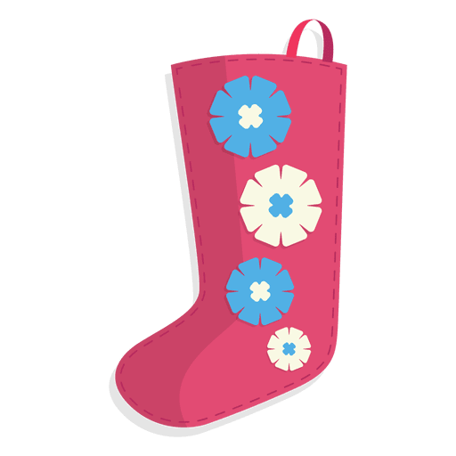 Pink Flowers Christmas Stocking Icon