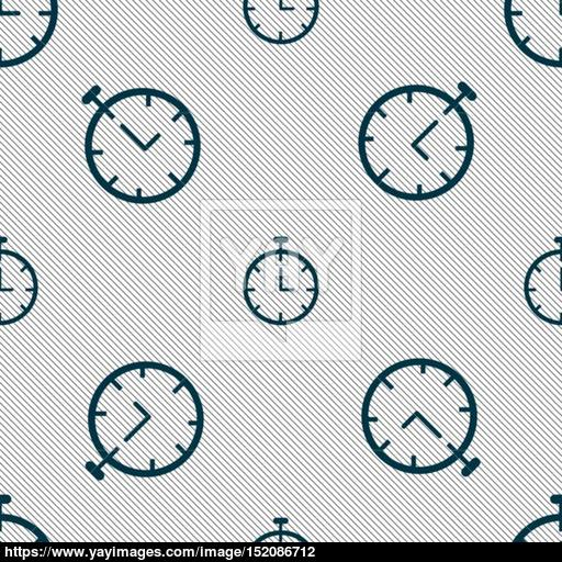 Stopwatch Icon Sign Seamless Pattern With Geometric Texture