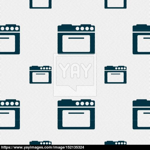 Kitchen Stove Icon Sign Seamless Pattern With Geometric Texture