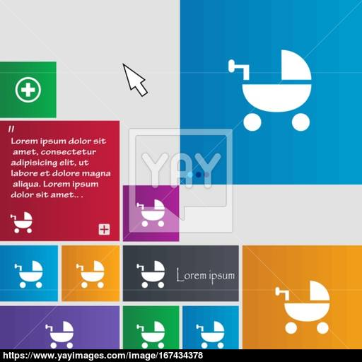 Baby Stroller Icon Sign Buttons Modern Interface Website Buttons