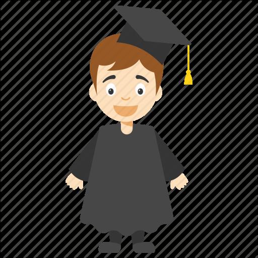 Cartoon Graduate Student, Child Graduation Character, Graduate