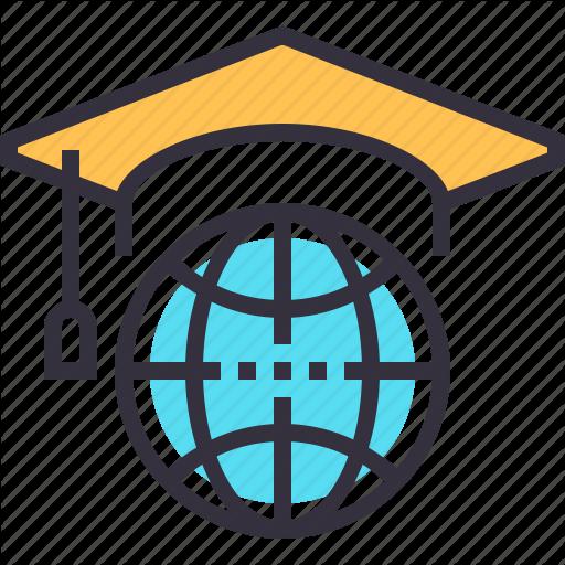 Abroad, Graduation, Hat, Internet, Knowledge, Online, Study Icon