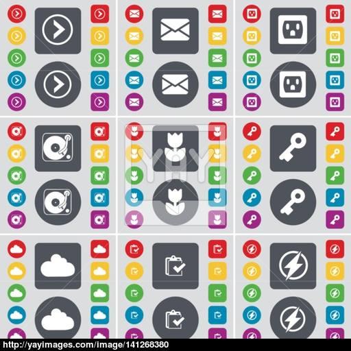 Arrow Right, Message, Socket, Gramophone, Flower, Key, Cloud, Su