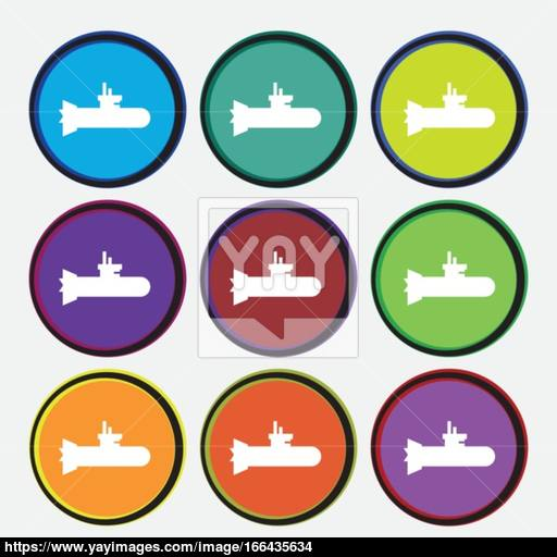 Submarine Icon Sign Nine Multi Colored Round Buttons Vector