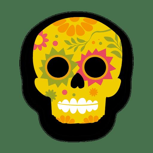 Colorful Floral Yellow Sugar Skull