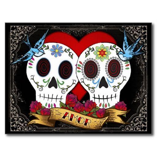 Love Skulls Save The Date Postcard Cards