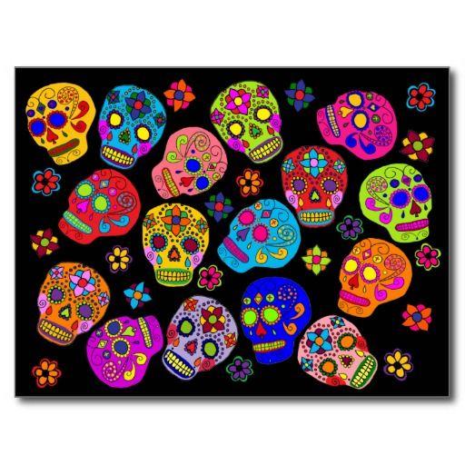 Mexican Folk Art Sugar Skulls Postcard Hispanic Art