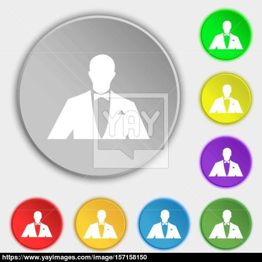 Silhouette Of Man In Business Suit Icon Sign Symbol On Eight Flat