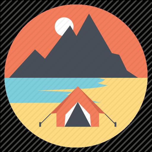 Campsite, Seashore, Seaside C Summer C Tourist Camp Icon