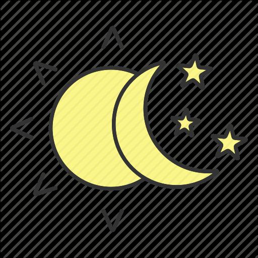 Bedtime, Crescent, Moon, Night, Sleep, Stars, Sun Icon