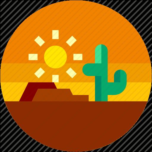 Cactus, Circle, Desert, Flat Icon, Hot, Landscape, Sun Icon