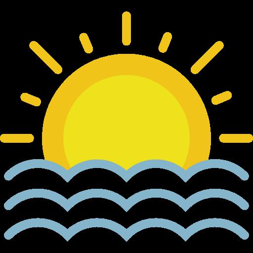 Down Arrow, Sun, Weather Icon