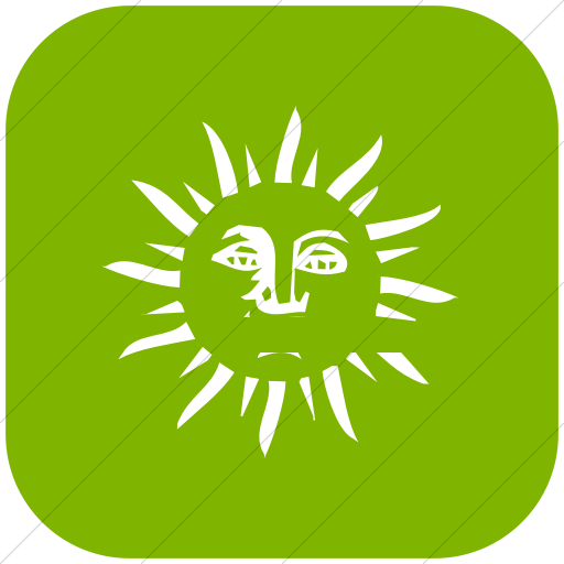 Flat Rounded Square White On Green Classica Sun Face Icon